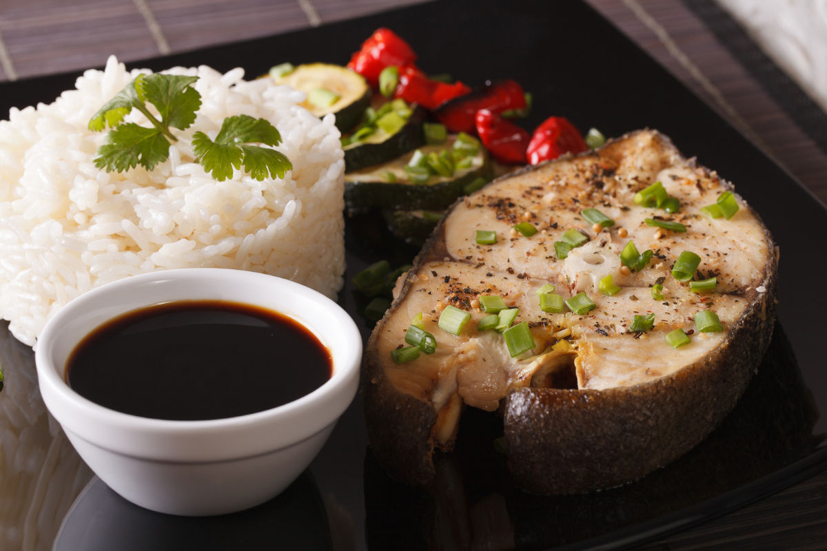 Black cod steak with rice and soy