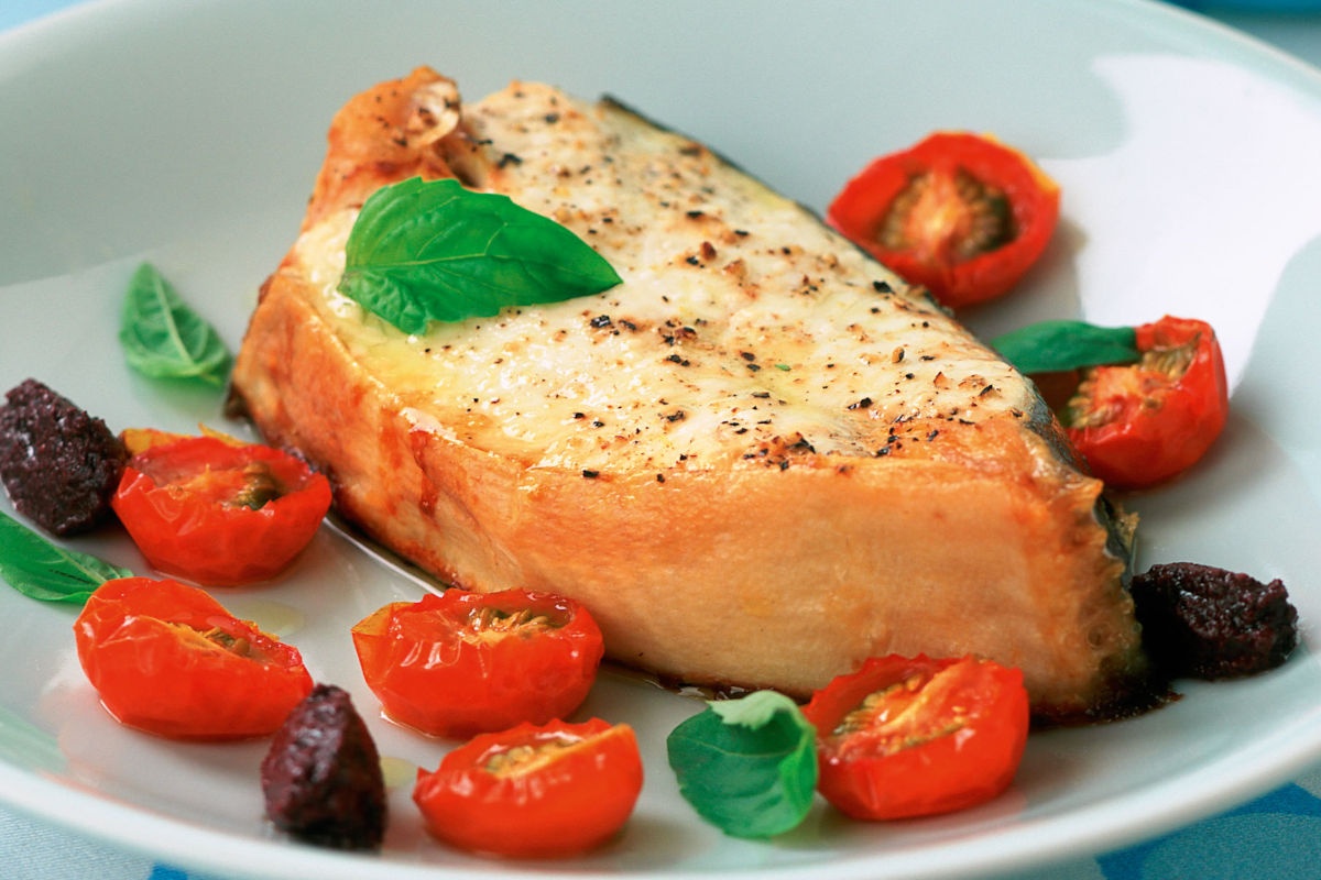 Halibut with oven roasted tomatoes basil and tapenade