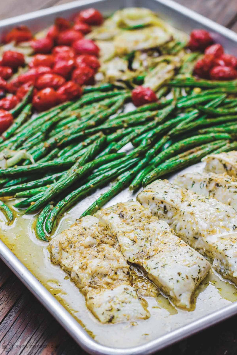 Mediterranean baked halibut with veggies