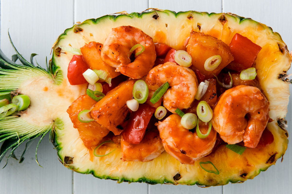 Pineapple and shrimps