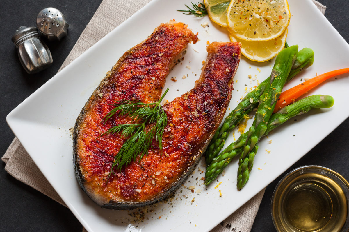 Salmon Steaks With Vodka, Dill and Lemon Marinade